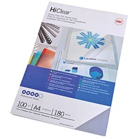 GBC HiClear A4 Binding Cover 250 Mic Super Clear - Pack of 50