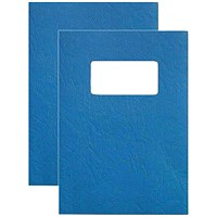 GBC Binding Covers with Window, 250gsm, Blue, A4, Leathergrain, Pack of 25 Pairs