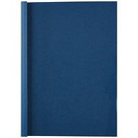 GBC Thermal Binding Covers, 1.5mm, Front: Clear, Back: Royal Blue Leathergrain, A4, Pack of 100