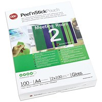 GBC Peel and Stick A4 Laminating Pouch 200 Micron (Pack of 100)