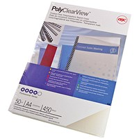 GBC PolyCovers ClearView Binding Covers, Matte, 350 micron, Frosted Clear, A4, Pack of 100