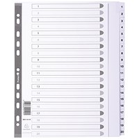 Exacompta Guildhall Mylar Index 1-20 A4 Maxi White