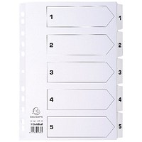 Guildhall File Dividers, 1-5, Mylar Tabs, A4, White