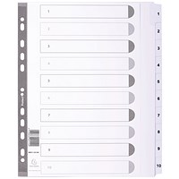 Guildhall File Dividers, 1-10, Mylar Tabs, A4, White