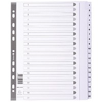Guildhall File Dividers, 1-20, Mylar Tabs, A4, White