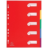 Exacompta Plastic 5 Part Dividers A4 Assorted