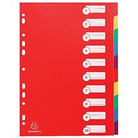 Exacompta Plastic 10 Part Dividers A4 Assorted