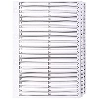 Guildhall File Dividers, 1-50, Mylar Tabs, A4, White