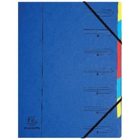 Exacompta A4 Elasticated Organiser Files, 7-Part, Blue