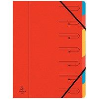 Exacompta A4 Elasticated Organiser Files, 7-Part, Red