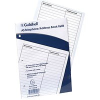 Exacompta Guildhall Ruled Telephone Address Book Refill A5