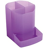 Exacompta Iderama 3 Compartment Pen Pot Purple (W90 x D123 x H110mm)