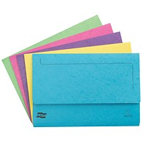 Exacompta Pocket File Wallets, 265gsm, Foolscap, Assorted, Pack of 25