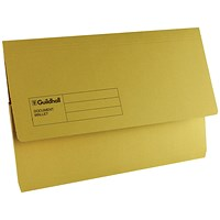Guildhall Document Wallets, Foolscap, Yellow, Pack of 50