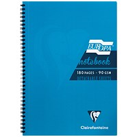 Clairefontaine Europa Notebook 180 Pages A4 Turquoise (Pack of 5)