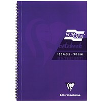 Clairefontaine Europa Notebook 180 Pages A4 Purple (Pack of 5)