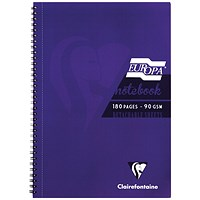 Clairefontaine Europa Notebook 180 Pages A5 Purple (Pack of 5)