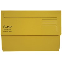 Guildhall Bright Document Wallets, Foolscap, Yellow, Pack of 25