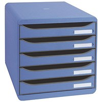 Exacompta Big Box Plus 5 Drawer Set Blue (Comes with label holders and inserts)