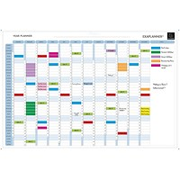 Exacompta Magnetic Drywipe Perpetual Year Planner, Mounted, 900x590mm