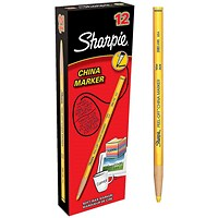 Sharpie China Wax Marker Pencil, Yellow, Pack of 12