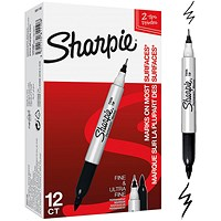 Sharpie Twin Tip Permanent Marker, Black, Pack of 12