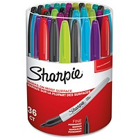 Sharpie Permanent Marker Fine Assorted (Pack of 36)