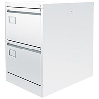 Graviti Plus Foolscap Filing Cabinet, 2-Drawer, Chalk White