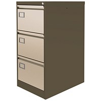 Graviti Plus Foolscap Filing Cabinet, 3-Drawer, Brown & Cream