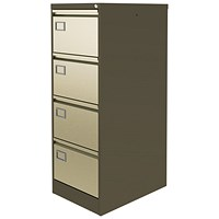 Graviti Plus Foolscap Filing Cabinet, 4-Drawer, Brown & Cream