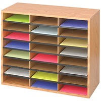 Safco 24 Compartment Literature Organiser Oak
