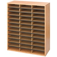Safco 36 Compartment Literature Organiser Oak