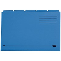 Elba Tabbed Folders, 250gsm, Set of 5, Foolscap, Blue, Pack of 20
