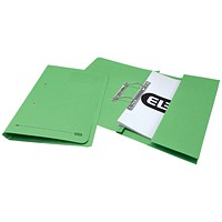 Elba Pocket Transfer Files, 320gsm, Foolscap, Green, Pack of 25
