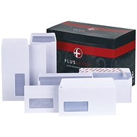 Plus Fabric Plain DL Wallet Envelopes, White, Press Seal, 110gsm, Pack of 500