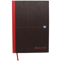Black n' Red Casebound Notebook, A4, Plain, 192 Pages, Pack of 5