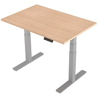 Air Height Adjustable Desk, 1200mm, Silver Legs, Maple