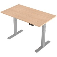 Air Height Adjustable Desk, 1400mm, Silver Legs, Maple