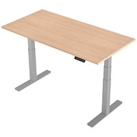 Air Height Adjustable Desk, 1600mm, Silver Legs, Maple