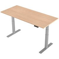 Air Height Adjustable Desk, 1800mm, Silver Legs, Maple
