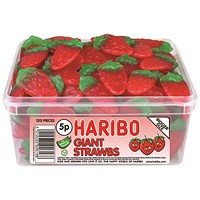Haribo Giant Strawbs 120 Sweet Drum 9547