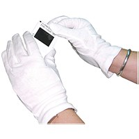 White Knitted Cotton Large Gloves (Pack of 10)