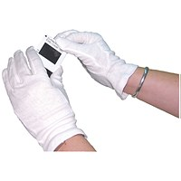 White Knitted Cotton Medium Gloves (Pack of 20)