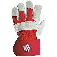 Polyco Premium Rigger Gloves Chrome Selected Leather Red (Pack of 10)