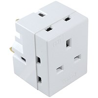 CED 3-Way Adaptor Fused 13 Amp White