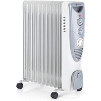Oil Filled Radiator 2kW Timer Control White (Variable thermostat with timer control)