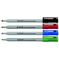 Ikon OHP Pen Non-Permanent Fine Point Assorted (Pack of 4)