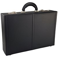 Monolith Leather Look Expandable Attache Case PVC Black