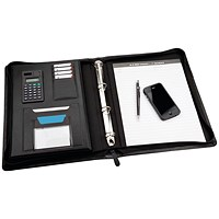 Monolith Zipped Meeting Folder, 275x345mm, Leather-Look, Black