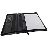 Monolith Conference Folder with Pad & Calculator, 250x340mm, Leather-Look, Black